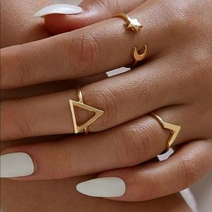 Brandy Melville Jewelry - {2/$25} geometric star and moon ring set of 3